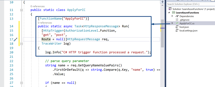 Creating Azure Functions in Visual Studio 2017: HTTP Triggered Azure