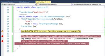 Creating Azure Functions in Visual Studio 2017: HTTP